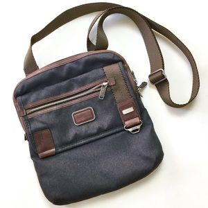 Tumi Unisex Crossbody Bag Gray Brown Leather